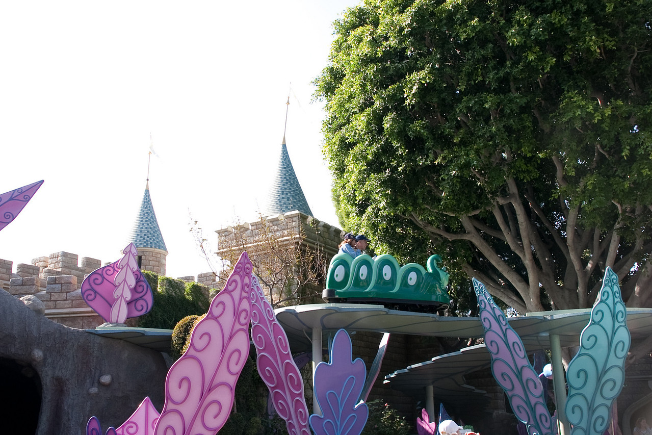 2009 Alice in Wonderland ride. Could not find exactly the same angle with the same leaves in the foreground and castle tower in the background, which leads me to believe that the ride has moved and been reconfigured at least once in the last 40 years.