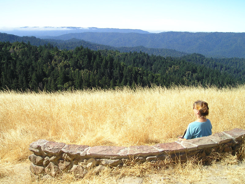 "View from the Wallace Stegner bench. Looking out over the <a href=""http://en.wikipedia.org/wiki/Santa_Cruz_Mountains"">Santa Cruz Mountains</a> towards the Pacific."
